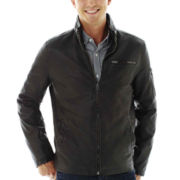 Claiborne® Faux-Leather Racer Jacket