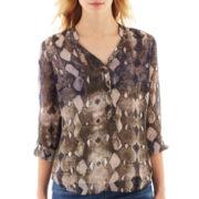 a.n.a® 3/4-Sleeve Roll-Tab Mandarin Collar Chiffon Popover Top