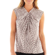 Worthington® Short-Sleeve Zipper-Trim Blouse