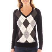 St. John's Bay® Long-Sleeve Argyle Sweater