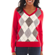 St. John's Bay® Long-Sleeve Argyle Sweater