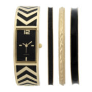 Womens Rectangular Dial Bangle Watch and Bracelet Set