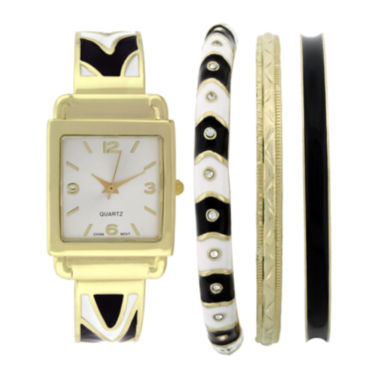 jcpenney.com | Womens Square Dial Bangle Watch and Bracelet Set