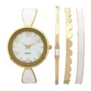 Womens White Bangle Watch and Bracelet Set