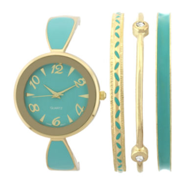 jcpenney.com | Womens Green Bangle Watch and Bracelet Set
