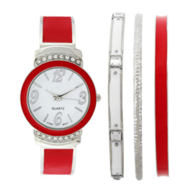 jcpenney.com | Womens Crystal-Accent Red Bangle Watch and Bracelet Set