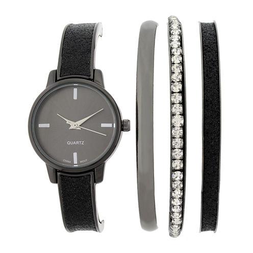 Womens Black Bangle Watch and Bracelet Set