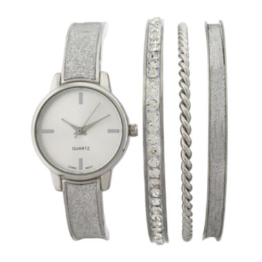 jcpenney.com | Womens Silver-Tone Bangle Watch and Bracelet Set