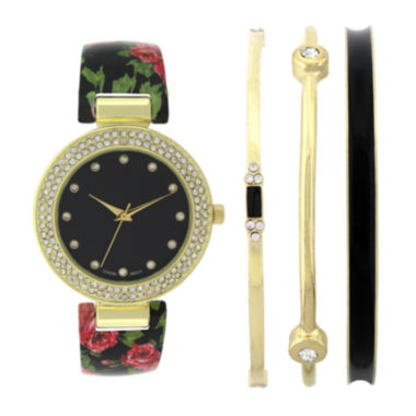 jcpenney.com | Womens Crystal-Accent Black Floral Bangle Watch and Bracelet Set
