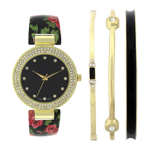 Womens Crystal-Accent Black Floral Bangle Watch and Bracelet Set