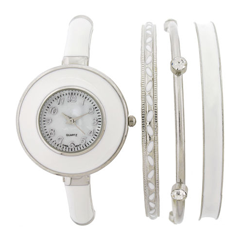 Womens Mother-of-Pearl Dial White Bangle Watch and Bracelet Set