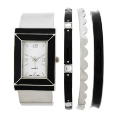 jcpenney.com | Womens Rectangular Dial Silver-Tone Bangle Watch and Bracelet Set