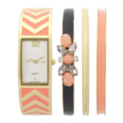 Womens Rectangular Dial Orange Bangle Watch and Bracelet Set