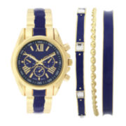 Womens Blue Dial Bangle Watch and Bracelet Set