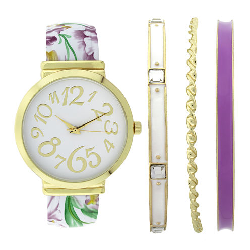 Womens Floral Bangle Watch and Bracelet Set