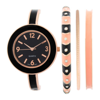 jcpenney.com | Womens Black Bangle Watch and Bracelet Set