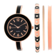 Womens Black Bangle Watch and Bracelet Set