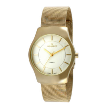 jcpenney.com | Peugeot® Mens Gold-Tone Stainless Steel Mesh Watch 1002G