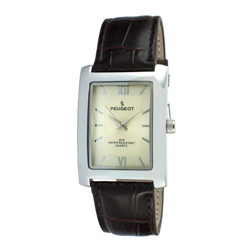Peugeot® Mens Rectangular Brown Leather Strap Watch 2033BR