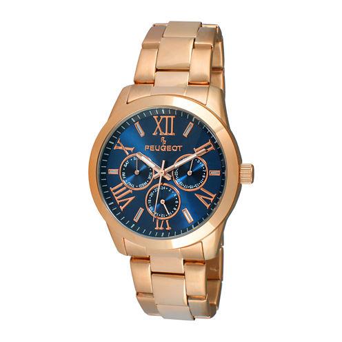 Peugeot® Womens Blue Dial Rose-Tone Stainless Steel Bracelet Watch 7095NV