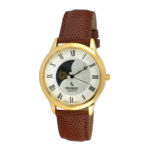 Peugeot® Mens Brown Leather Strap Sun/Moon Phase Watch 2047GBR
