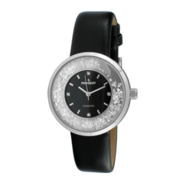 jcpenney.com | Peugeot® Womens Diamond-Accent Black Leather Strap Watch 3041SBK