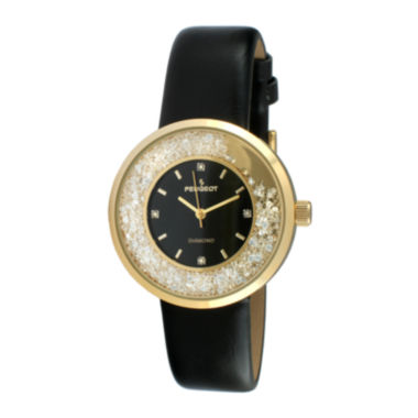 jcpenney.com | Peugeot® Womens Diamond-Accent Black Leather Strap Watch 3041GBK