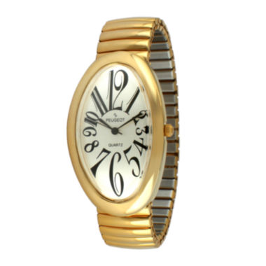 jcpenney.com | Peugeot® Womens Gold-Tone Stainless Steel Expansion Bracelet Watch 7098G