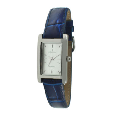 jcpenney.com | Peugeot® Womens Rectangular Blue Leather Strap Watch 3008BL