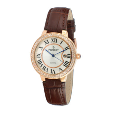jcpenney.com | Peugeot® Womens Crystal-Accent Brown Leather Strap Watch 3043RBR