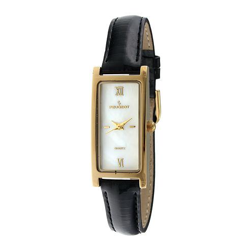 Peugeot® Womens Rectangular Black Leather Strap Slim Watch 3017BK