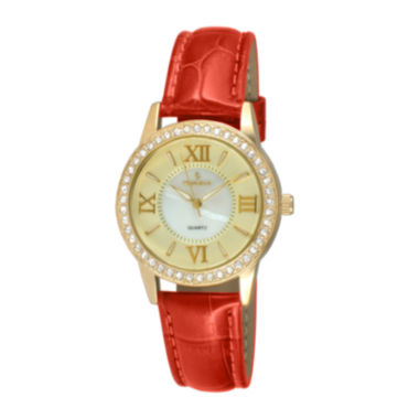 jcpenney.com | Peugeot® Womens Crystal-Accent Red Leather Strap Watch 3044GRD
