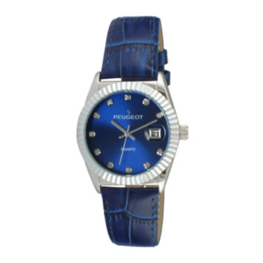 jcpenney.com | Peugeot® Womens Crystal-Accent Blue Leather Strap Watch 3045BL