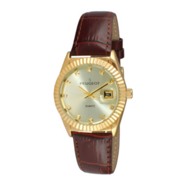 jcpenney.com | Peugeot® Womens Crystal-Accent Brown Leather Strap Watch 3045BR