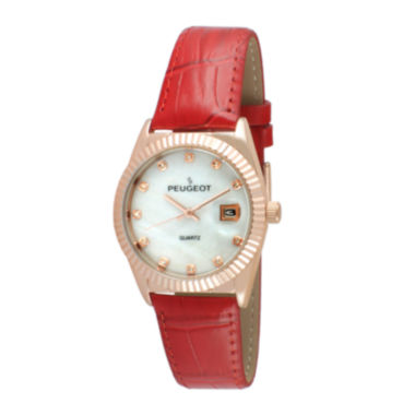 jcpenney.com | Peugeot® Womens Crystal-Accent Red Leather Strap Watch 3045RD