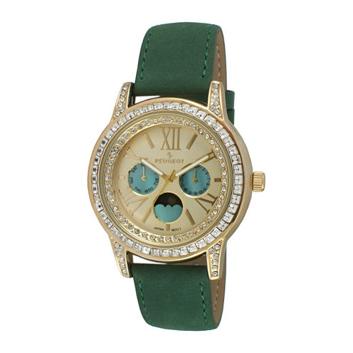 Peugeot® Womens Crystal-Accent Green Leather Strap Moon Phase Watch 3031GR