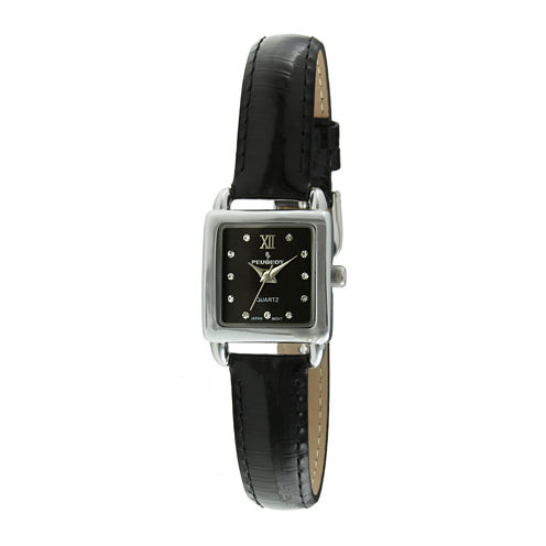 Peugeot® Womens Crystal-Accent Black Leather Strap Petite Watch 3034BK