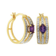 Classic Treasures™ Genuine Amethyst and Diamond-Accent Hoop Earrings
