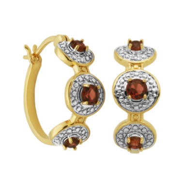 jcpenney.com | Classic Treasures™ Genuine Garnet and Diamond-Accent Hoop Earrings