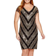 Marina Short-Sleeve Sequin Lace Sheath Dress - Plus