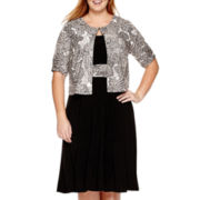 Perceptions Short-Sleeve Glitter Paisley Jacket Dress - Plus