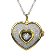 Love in Motion™ 1/10 CT. T.W. Diamond Two-Tone Heart Locket Pendant Necklace