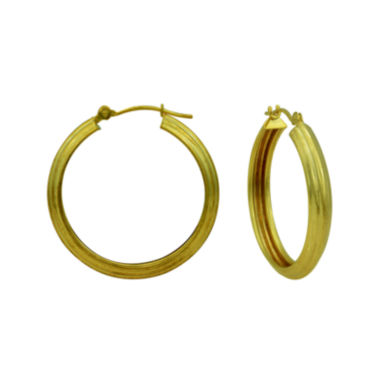 jcpenney.com | 14K Yellow Gold Polished 25mm Ridged Hoop Earrings