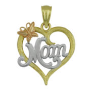 10K Tri-Tone Gold Mom Heart Pendant
