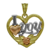 10K Tri-Tone Gold I Love You Pendant