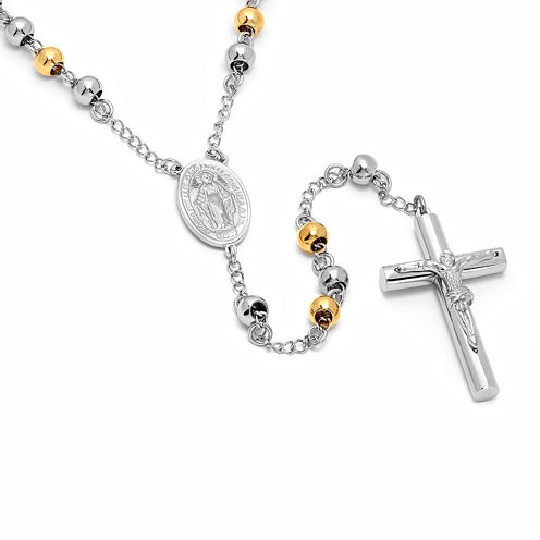 Two-Tone Stainless Steel Rosary Cross Pendant Necklace
