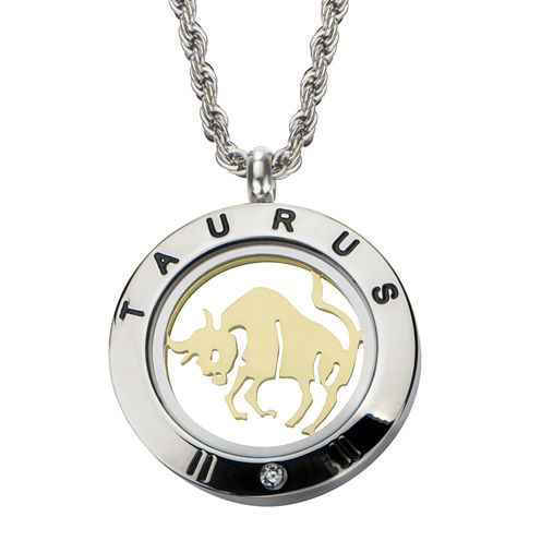 Taurus Zodiac Reversible Two-Tone Stainless Steel Locket Pendant Necklace