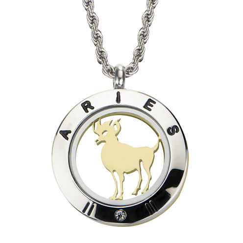 Aries Zodiac Reversible Two-Tone Stainless Steel Locket Pendant Necklace