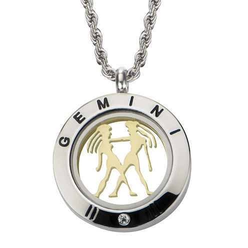 Gemini Zodiac Reversible Two-Tone Stainless Steel Locket Pendant Necklace