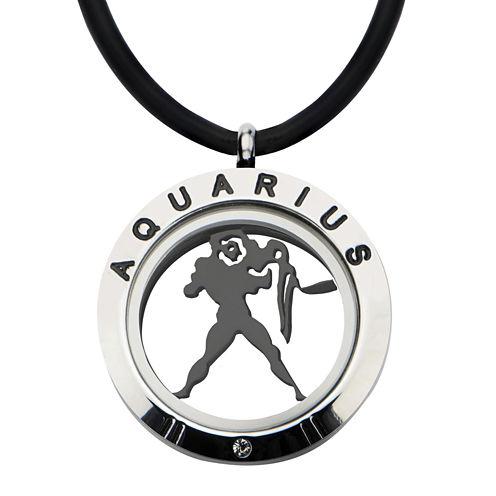 Aquarius Zodiac Reversible Stainless Steel Locket Pendant Necklace